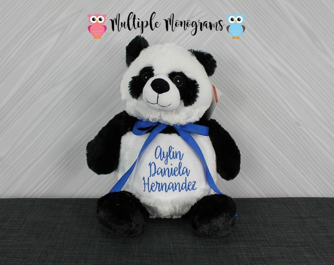Personalized Panda Bear Stuffed Animal Custom Monogram or Personalization Baby Shower New Baby Christmas Adoption Baptism Gift
