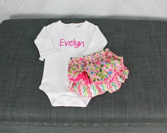 Monogrammed baby girl onesie and multicolored ruffle bloomers. Custom with name or monogram