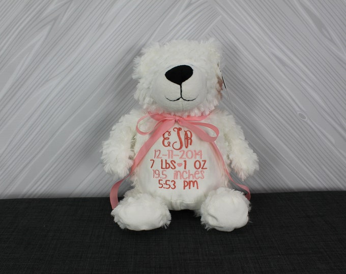 Personalized White Bear Stuffed Animal Custom Monogram or Personalization Baby Shower New Baby Gift Adoption Baptism Christmas Birthday Gift