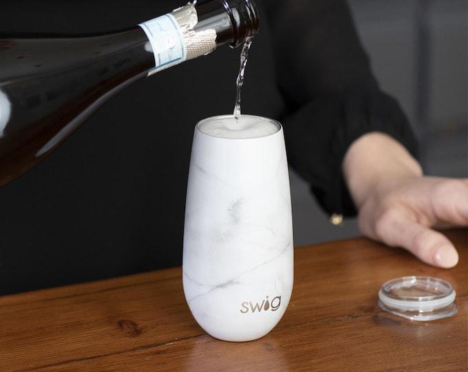 Swig Life 6 ounce Stemless Champagne Flute with lid