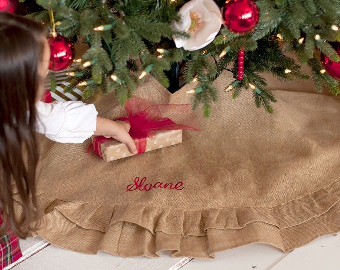 Natural Burlap Christmas Tree Skirt with Ruffles FREE Personalization