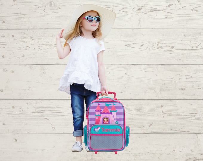 Princess Rolling Luggage toddler preschool kids FREE Embroidery personalization Carry On Size Luggage