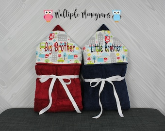 Set of 2 Big Brother Little Brother Hooded Towels. Perfect for twins or siblings. Custom made to order for boy/boy, girl/girl or boy/girl