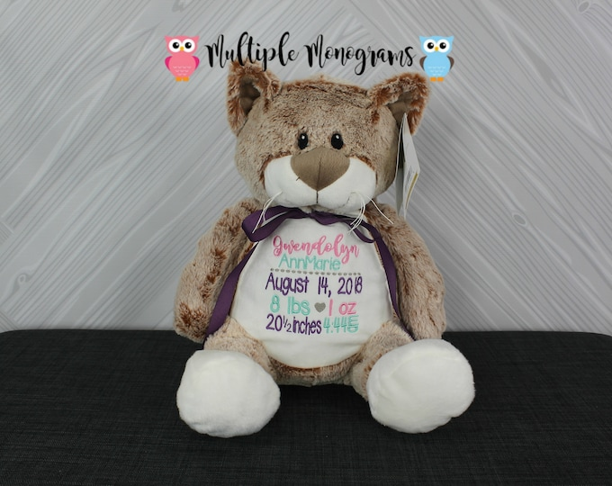 Personalized Cat Kitten Stuffed Animal. Keepsake. Baby Shower Gift. Adoption New Baby Baptism Easter Birthday Gift