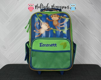 Monkey Rolling Luggage toddler preschool kids FREE personalization Carry On Size Luggage