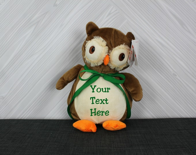 Personalized Owl Stuffed Animal, Custom Personalization, Baby Shower New Baby Adoption Baptism Christmas Birthday gift