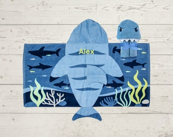 Shark Hooded Beach Towel toddler kids FREE personalization Embroidery