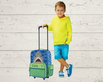 Shark Rolling Luggage toddler preschool kids FREE Embroidery personalization Carry On Size Luggage