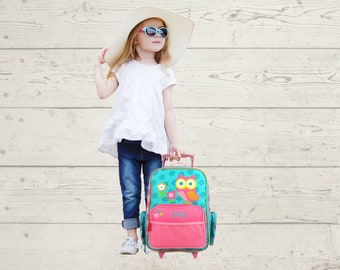 Owl Rolling Luggage toddler preschool kids FREE Embroidery personalization Carry On Size Luggage
