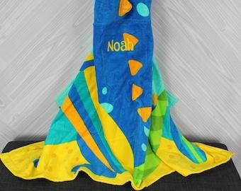 Dinosaur Hooded Beach Towel toddler kids FREE personalization