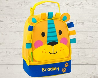Lion Lunchbox toddler preschool kids FREE Embroidery personalization NEW design