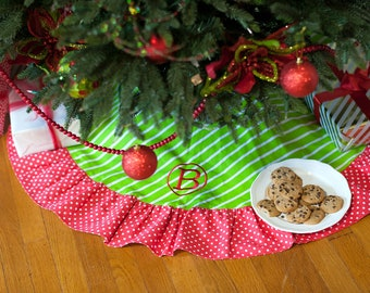 Green Stripe Red Polkadot Christmas Tree Skirt with Ruffle FREE Personalization