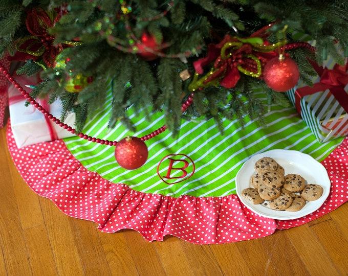 Green Stripe Red Polkadot Christmas Tree Skirt with Ruffle FREE Personalization