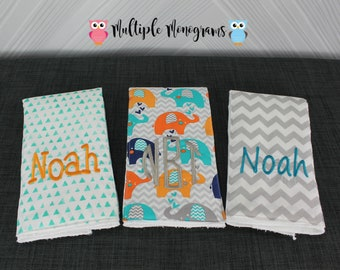 Monogrammed Burp Cloths, Set of 3, Custom made for boy or girl, bold elephants chevron burp cloths