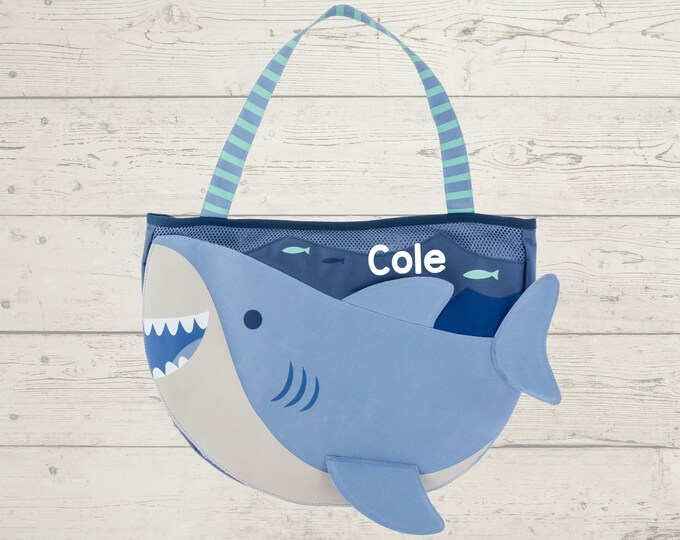 Shark Beach Tote toddler kids FREE personalization and sand toys included Embroidery