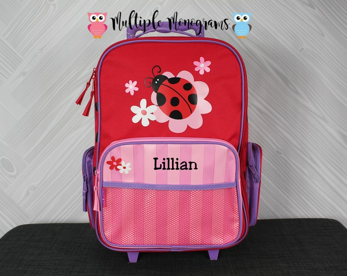 Ladybug Rolling Luggage toddler preschool kids FREE personalization Carry On Size Luggage
