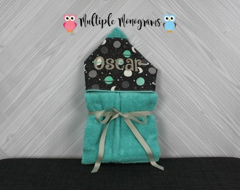 Monogrammed Hooded Baby or Kids Towel. Custom made to order for boy or girl. Perfect baby shower or birthday gift.