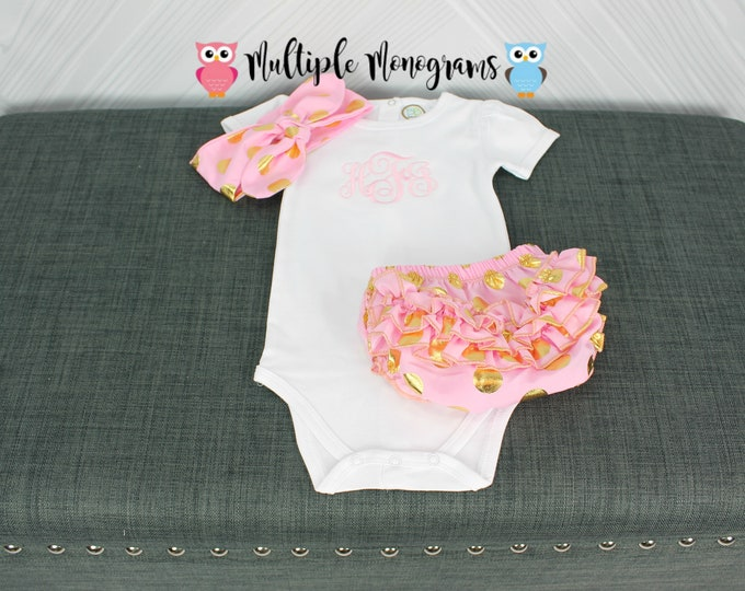 Monogrammed baby girl bodysuit, pink and gold headband and ruffle bloomers