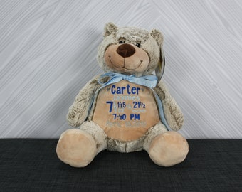 Personalized Teddy Bear Stuffed Animal. Keepsake. Baby Shower Gift. Adoption New Baby Baptism Easter Birthday Gift