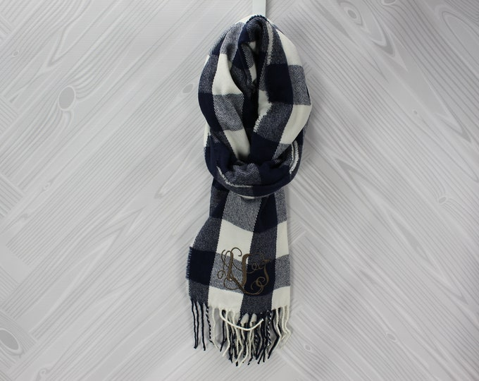 Monogrammed Buffalo Check Scarf