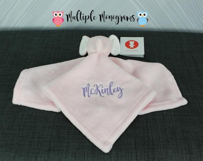 Monogrammed Baby Pink Elephant Cuddle Blankey