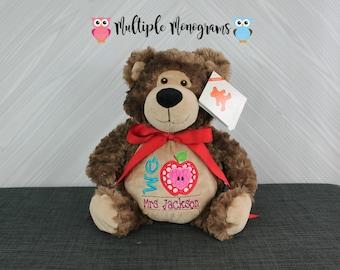Teacher Appreciation Teddy Bear Stuffed Animal, Teacher gift, back to school gift, teacher present, I love my teacher