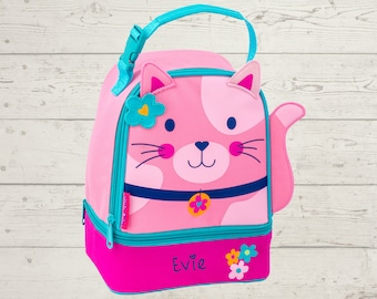 Cat Kitten Lunchbox toddler preschool kids FREE Embroidery personalization NEW Design