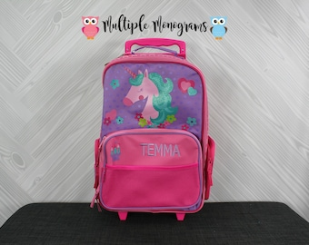 Unicorn Rolling Luggage toddler preschool kids FREE personalization Carry On Size Luggage
