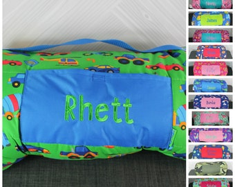 Stephen Joseph Transportation Cars Nap Mat with pillow and blanket attached FREE personalization