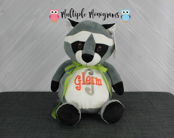 Personalized Raccoon Stuffed Animals, Custom Personalization, Baby Shower New Baby Adoption Baptism Christmas Birthday gift