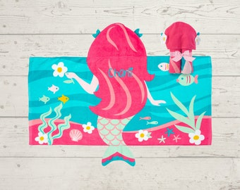 Mermaid Hooded Beach Towel toddler kids FREE personalization Embroidery