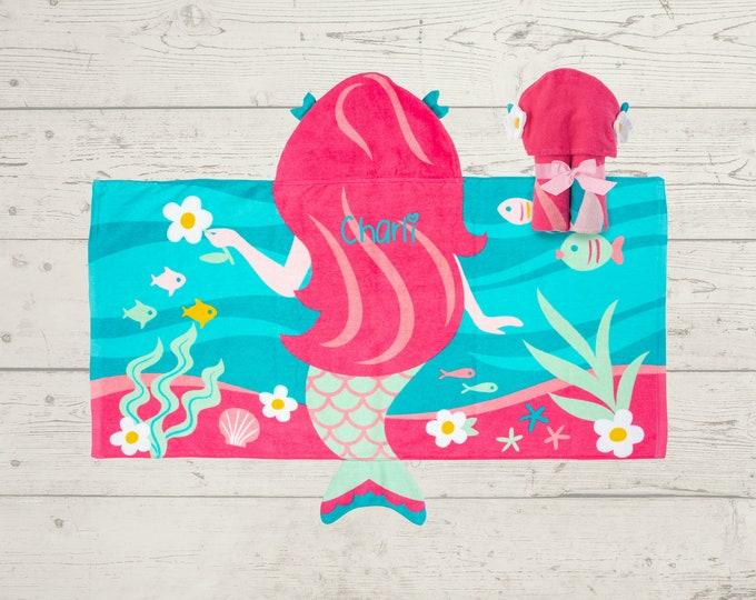 Mermaid Hooded Beach Towel toddler kids FREE personalization Embroidery