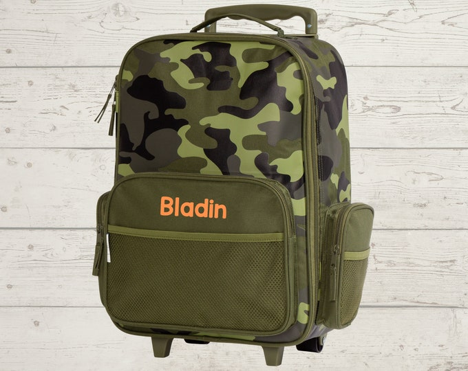 Camo Rolling Luggage toddler preschool kids FREE Embroidery personalization Carry On Size Luggage