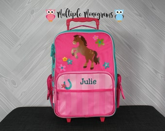 Girl Horse Rolling Luggage toddler preschool kids FREE personalization Carry On Size Luggage