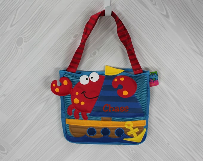 Crab and Ship Beach Tote toddler kids FREE personalization and sand toys included