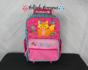 Girl Fox Rolling Luggage toddler preschool kids FREE personalization Carry On Size Luggage