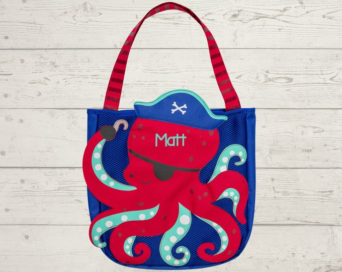 Red Octopus Beach Tote toddler kids FREE personalization and sand toys included Embroidery