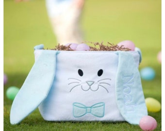 Easter Basket Blue Long Ears Bunny