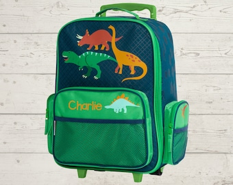Green Dinosaur Rolling Luggage toddler preschool kids FREE Embroidery personalization Carry On Size Luggage