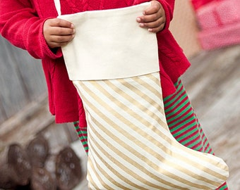 Gold Stripe Christmas Stocking FREE Personalization
