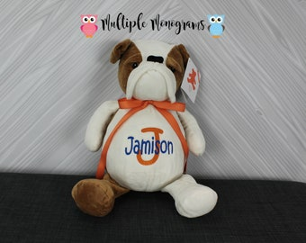 Personalized Bulldog Stuffed Animals Completely Customizable Gift Baby Shower New Baby Adoption Baptism Birthday Christmas Gift