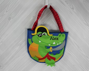 Crocodile Pirate Beach Tote toddler kids FREE personalization and sand toys included