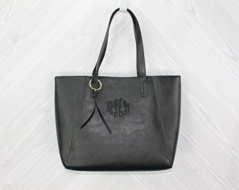 Women's Black Vegan Leather Camilla Tote Purse Bag FREE Personalization Perfect for any occasion