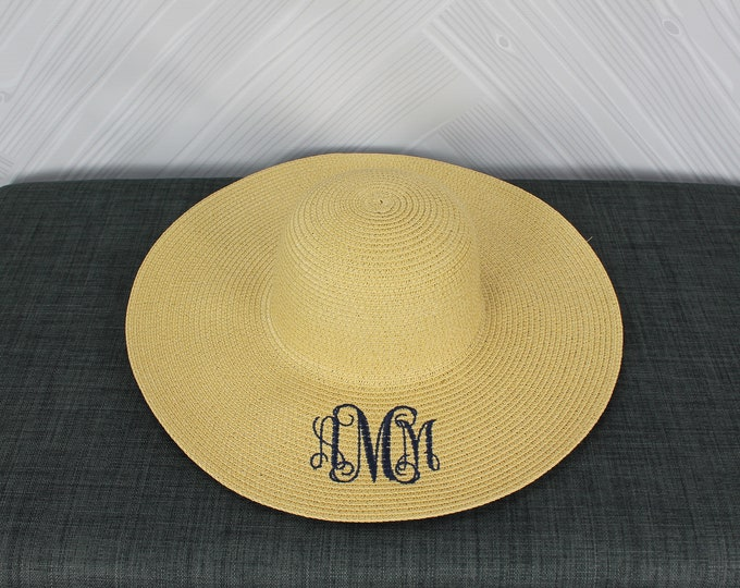 Natural Straw Women's Floppy Hat FREE Personalization