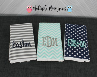 Monogrammed Burp Cloths, Set of 3. Custom made for boy or girl.