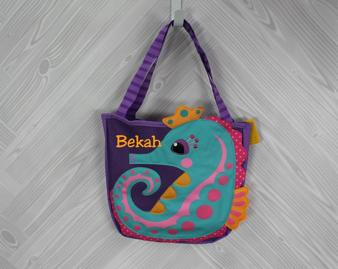 Seahorse Beach Tote toddler kids FREE personalization and sand toys included