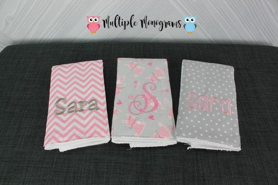Monogrammed Burp Cloths, Set of 3, Custom made for boy or girl, bunny rabbit chevron burp cloths