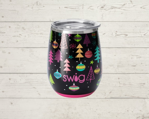 Holiday Swig Life Stemless Wine Glass with Slider Lid 14 oz
