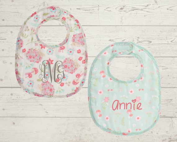 Muslin Bibs and Spoon Set for Baby Personalized