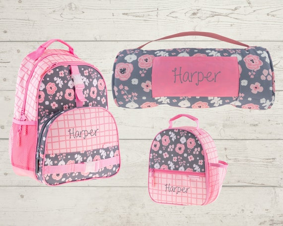 Children's All Over Print Nap Mat, Backpack and Lunchbox Set Stephen Joseph with Embroidery Personalization